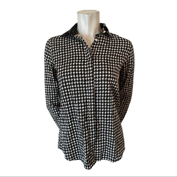 Chaps Black/White Houndstooth Print Blouse Size S